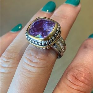 Purple stone ring, silver and gold accents